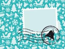 Κάρτα προτύπων Χριστουγέννων με το γραμματόσημο Grunge Στοκ Εικόνα