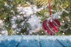κάρτα πρωινού παγετού που απεικονίζεται να λάμψει ποταμών πάχνης ηλιόλουστος χειμώνας δέντρων ήλιων χιονιού τα Χριστούγεννα διακο Στοκ Εικόνες