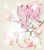 Κάρτα πρόσκλησης άνοιξη με τα μεγάλα λουλούδια magnolia διανυσματική απεικόνιση