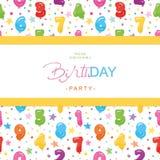 Κάρτα πρόσκλησης γιορτής γενεθλίων για τα παιδιά Συμπεριλαμβανόμενο άνευ ραφής σχέδιο με τους στιλπνούς ζωηρόχρωμους αριθμούς μπα Στοκ εικόνα με δικαίωμα ελεύθερης χρήσης