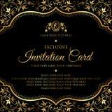 Κάρτα πρόσκλησης - μαύρο και χρυσό διανυσματικό σχέδιο πολυτέλειας στοκ εικόνες