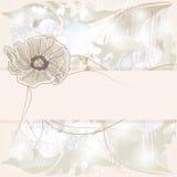 Κάρτα πρόσκλησης με συρμένο το χέρι λουλούδι παπαρουνών διανυσματική απεικόνιση