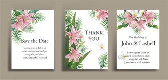 Κάρτα πρόσκλησης με τα λουλούδια κρίνων και plumeria Στοκ εικόνες με δικαίωμα ελεύθερης χρήσης