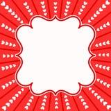 Κάρτα πρόσκλησης πλαισίων έκρηξης καρδιών Στοκ φωτογραφία με δικαίωμα ελεύθερης χρήσης