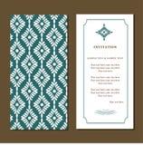 Κάρτα πρόσκλησης ή γάμου με damask το υπόβαθρο Στοκ Εικόνα