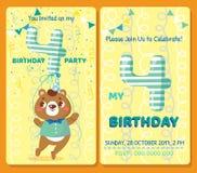 Κάρτα πρόσκλησης γενεθλίων με το χαριτωμένο ζώο Στοκ εικόνα με δικαίωμα ελεύθερης χρήσης
