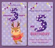 Κάρτα πρόσκλησης γενεθλίων με το χαριτωμένο ζώο Στοκ Εικόνα