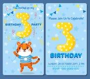 Κάρτα πρόσκλησης γενεθλίων με το χαριτωμένο ζώο Στοκ εικόνες με δικαίωμα ελεύθερης χρήσης