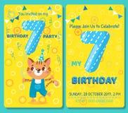 Κάρτα πρόσκλησης γενεθλίων με το χαριτωμένο ζώο Στοκ Φωτογραφία