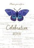 Κάρτα πρόσκλησης για το γάμο, τα γενέθλια και τις διακοπές με την όμορφη πεταλούδα Στοκ Εικόνες