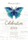 Κάρτα πρόσκλησης για το γάμο, τα γενέθλια και τις διακοπές με την όμορφη πεταλούδα Στοκ Φωτογραφία