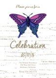 Κάρτα πρόσκλησης για το γάμο, τα γενέθλια και τις διακοπές με την όμορφη πεταλούδα Στοκ εικόνα με δικαίωμα ελεύθερης χρήσης