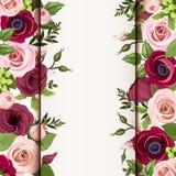 Κάρτα πρόσκλησης με τα κόκκινα και ρόδινα τριαντάφυλλα, lisianthuses και λουλούδια anemone Διάνυσμα eps-10 ελεύθερη απεικόνιση δικαιώματος