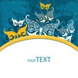 Κάρτα πρόσκλησης με τη διακοσμητική πεταλούδα Στοκ Εικόνες