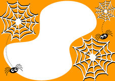 Κάρτα πρόσκλησης με τις αράχνες και τους ιστούς αράχνης αποκριών ελεύθερη απεικόνιση δικαιώματος