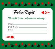 Κάρτα πρόσκλησης νύχτας πόκερ Στοκ Φωτογραφίες