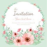 Κάρτα πρόσκλησης λουλουδιών ελεύθερη απεικόνιση δικαιώματος