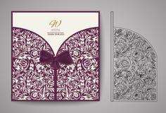 Κάρτα πρόσκλησης περικοπών λέιζερ Τέμνον σχέδιο λέιζερ για τη γαμήλια κάρτα πρόσκλησης διάνυσμα Στοκ Φωτογραφία
