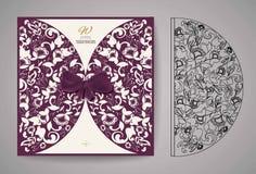 Κάρτα πρόσκλησης περικοπών λέιζερ Τέμνον σχέδιο λέιζερ για τη γαμήλια κάρτα πρόσκλησης διάνυσμα Στοκ εικόνες με δικαίωμα ελεύθερης χρήσης