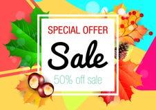 Κάρτα πώλησης φθινοπώρου απεικόνιση αποθεμάτων