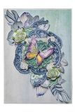 Κάρτα στο ύφος με μια πεταλούδα και τα τριαντάφυλλα στοκ φωτογραφία με δικαίωμα ελεύθερης χρήσης