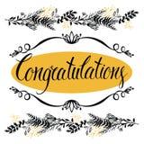 Κάρτα συγχαρητηρίων με τα δασικά χορτάρια και calligr Στοκ Εικόνες