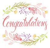 Κάρτα συγχαρητηρίων με τα λουλούδια και την καλλιγραφία Στοκ Φωτογραφία