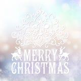 Κάρτα συγχαρητηρίων Χαρούμενα Χριστούγεννας σε μουτζουρωμένο Στοκ Εικόνα