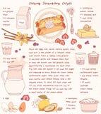 Κάρτα συνταγής Η κρεμώδης φράουλα crepes Στοκ φωτογραφίες με δικαίωμα ελεύθερης χρήσης