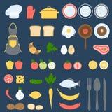 Κάρτα συνταγής και σύνολο σχεδίου βιβλίων Cook, επίπεδη διανυσματική απεικόνιση Στοκ Εικόνες