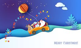 Κάρτα σχεδίου Χαρούμενα Χριστούγεννας με Άγιο Βασίλη απεικόνιση αποθεμάτων