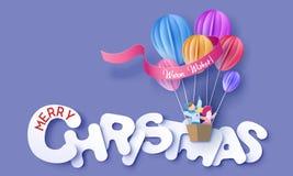 Κάρτα σχεδίου Χαρούμενα Χριστούγεννας με τα παιδιά flyin ελεύθερη απεικόνιση δικαιώματος