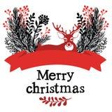 Κάρτα σχεδίου ελαφιών Χριστουγέννων Στοκ φωτογραφία με δικαίωμα ελεύθερης χρήσης
