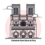 Κάρτα ταξιδιού της Παναγίας των Παρισίων διανυσματική απεικόνιση