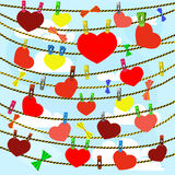 Κάρτα την ημέρα βαλεντίνων με πολλές καρδιές επάνω Στοκ Εικόνες