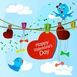 Κάρτα την ημέρα βαλεντίνων με την καρδιά και τα μπλε πουλιά Στοκ φωτογραφία με δικαίωμα ελεύθερης χρήσης
