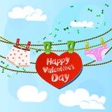 Κάρτα την ημέρα βαλεντίνων με την καρδιά και των γυναικών και Στοκ Εικόνα