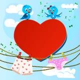 Κάρτα την ημέρα βαλεντίνων με την καρδιά και των γυναικών και Στοκ φωτογραφία με δικαίωμα ελεύθερης χρήσης
