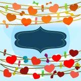 Κάρτα την ημέρα βαλεντίνων με το υπόβαθρο ουρανού Στοκ Εικόνες