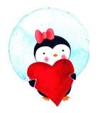 Κάρτα την ημέρα βαλεντίνων ` s με την αγάπη penguin απεικόνιση watercolor που απομονώνεται Στοκ Φωτογραφία