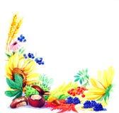 Κάρτα της εποχής φθινοπώρου από τους κήπους διανυσματική απεικόνιση