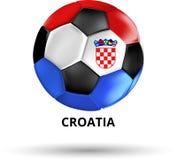 Κάρτα της Κροατίας με τη σφαίρα ποδοσφαίρου στα χρώματα της εθνικής σημαίας διανυσματική απεικόνιση