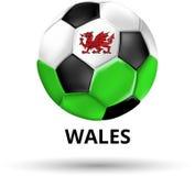 Κάρτα της Ουαλίας με τη σφαίρα ποδοσφαίρου στα χρώματα της εθνικής σημαίας διανυσματική απεικόνιση