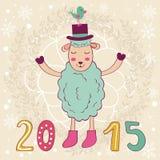 κάρτα του 2015 με τα ευτυχή πρόβατα και το πουλί Στοκ Εικόνα