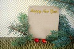 Κάρτα του νέου έτους με ελεύθερου χώρου για τα συγχαρητήρια Κομψό πίτουρο στοκ φωτογραφία με δικαίωμα ελεύθερης χρήσης