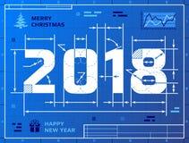 Κάρτα του νέου έτους 2018 ως σχέδιο σχεδιαγραμμάτων Στοκ Φωτογραφία