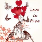 Κάρτα του χαριτωμένου βαλεντίνου με τα πουλιά, το κλουβί και τα μπαλόνια Στοκ Εικόνες
