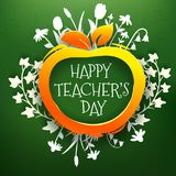 Κάρτα χαιρετισμών ημέρας δασκάλων στον πίνακα κιμωλίας Στοκ Φωτογραφία