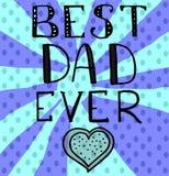 Κάρτα χαιρετισμών ημέρας του διανυσματικού πατέρα με την εγγραφή χεριών - καλύτερος μπαμπάς πάντα - με μια καρδιά και ένα μπλε υπ ελεύθερη απεικόνιση δικαιώματος