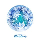 Κάρτα χαιρετισμών Καλών Χριστουγέννων και καλής χρονιάς Snowflakes περικοπών της Λευκής Βίβλου Υπόβαθρο χειμερινών διακοσμήσεων O απεικόνιση αποθεμάτων